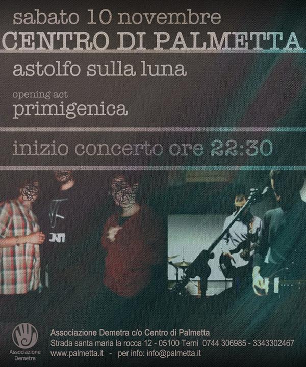 ASTOLFO SULLA LUNA + PRIMIGENICA | 10 NOVEMBRE 2012
