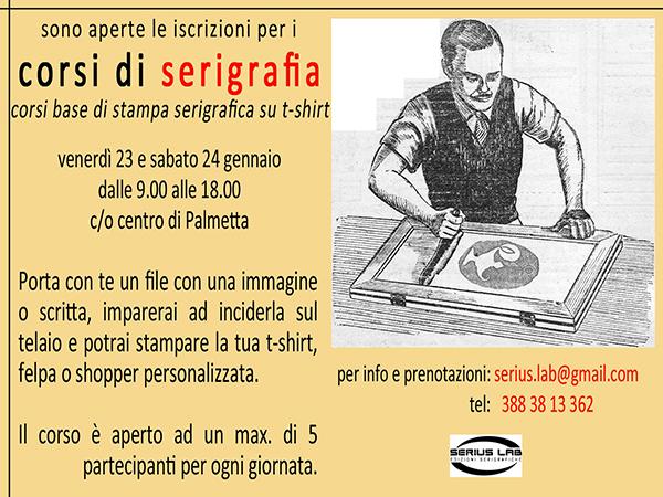Corsi di base di stampa serigrafia su t-shirt   23 e 24 Gennaio 2015   Centro di Palmetta